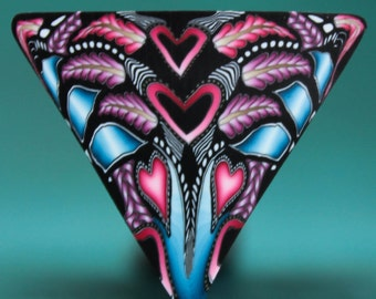 Polymer Clay Triangle Cane -'Intricacies of the Heart' (51dd)