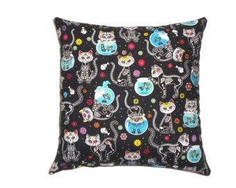 Day of the Dead Sugar Skull Cats Decorative Throw Pillow Home Bedding Mexican Art