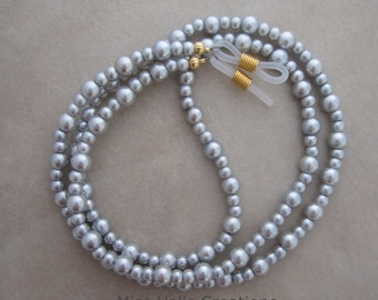 silver pearl eyeglass chain holder gold ends