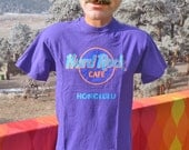 vintage 80s t-shirt HARD ROCK cafe honolulu neon hawaii purple tee Medium 90s