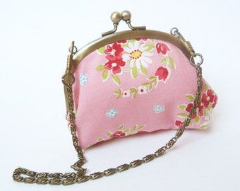Coin purse, pink floral cotton fabric with detachable chain handle, cotton purse