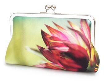 Clutch bag, silk purse, flower petals, contemporary flower clutch, pink, chartreuse handbag, ASTRANTIA