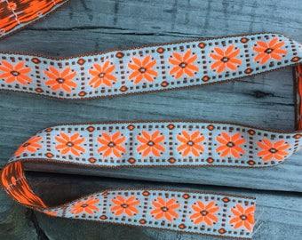 Flourescent Orange and Brown Vintage Embroidered Trim - 1 Yard- Vintage Sewing Supplies / Embroidered Trim / 1970s / Floral Trim