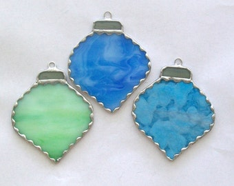 Christmas ornament set 3 blue and green stained glass tear drop ornaments
