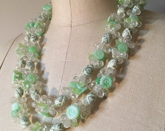Vintage Minty Green Beaded Necklace