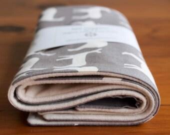 Gray Elk, Deer Burping Cloths; Modern Woodland Burp Rags; Organic Cotton Burp Cloths Gift; Soft Flannel Baby Burpcloths; ELK FAMILY PEWTER