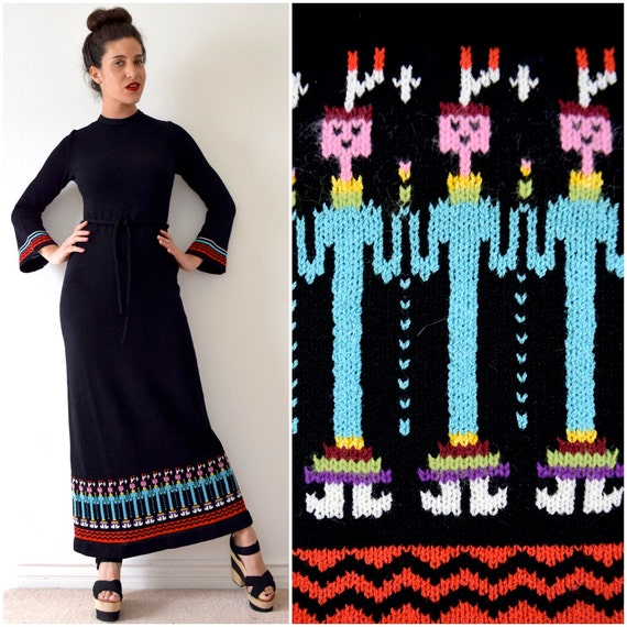 Vintage 60s 70s Yvonne Originals Native American Yei People Knit Bell Sleeve Sweater Dress (size small, medium)
