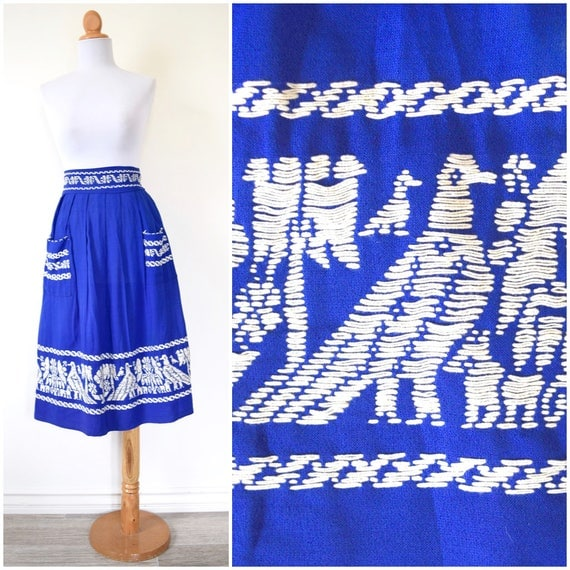 SPRING SALE/ 20% off Vintage 40s Royal Blue Embroidered High Waist A-Line Skirt