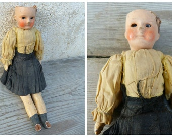 Antique French SFBJ 6/0 miniature doll bisque head /composition body arms & legs