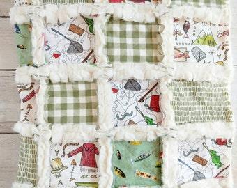 Fishing Quilt - Baby Boy Bedding - Fishing Baby Bedding - Fisherman Quilt - Trout Quilt - Gone Fishing - Minky Quilt - Fishing  Blanket