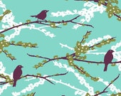 HALF YARD - Joel Dewberry Fabric, Aviary 2, Sparrows in Plum, Bird, Branches