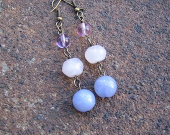 Eco-Friendly Dangle Earrings - Ear Candy - Trios of Recycled Vintage Beads in Pink and Lilac