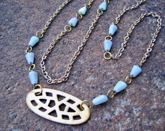 Eco-Friendly Statement Necklace - Harbinger - Recycled Vintage Goldtone Metal Chain, Cut-Out Brass Pendant and Pale Blue Glass Beads