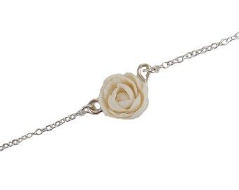 Peony Sterling Silver Anklet or Bracelet - Peony Ankle Bracelet Jewelry