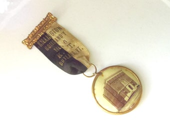 Vintage Knights Templar Celluloid Photo Ribbon Pin Saratoga 1907 Rutland Vermont Masonic