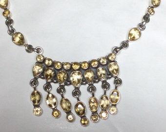 """Citrine semi precious gem stone multi dropper 925 silver necklace new vintage with 16"""" 41cm chain"""