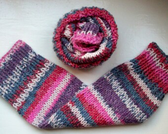 Chunky warm leg warmers, wider fit, multi striped Fair Isle effect knit wool cotton mix