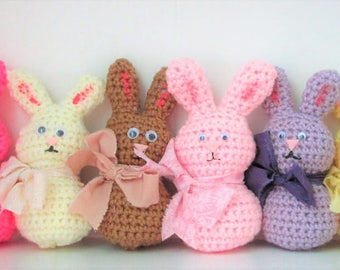 Easter Rabbit, Bunny, Crochet Amigurumi Bunny, Amigurumi Rabbit, Small Stuffed Animal, Easter Decoration. Listing is for ONE Crochet Rabbit