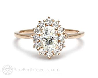 18K Cluster Moissanite Engagement Ring Oval Halo Forever Brilliant Moissanite Ring Conflict Free Diamond Alternative