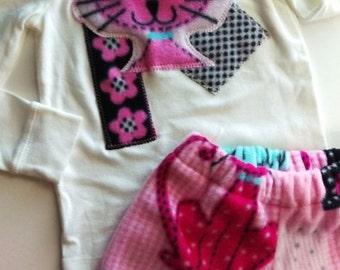 3d~ Soft Kitty Applique Fleece and Cotton Girls Set