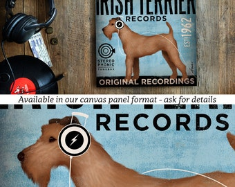 Irish Terrier dog records album style artwork on gallery wrapped canvas by stephen fowler