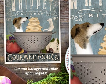 Whippet Dog Kitchen artwork chef cooking dog illustration in graphic art print by Stephen Fowler