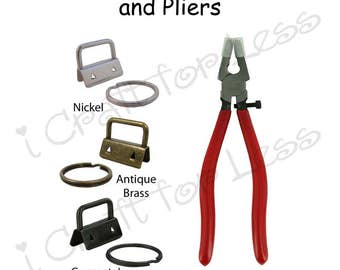 """5 - 1"""" Key Fob Hardware with Key Rings and Plier Combo - Plus Instructions - SEE COUPON"""