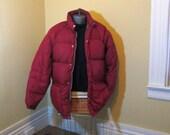 Vintage Puffer Jacket 80s vintage Sierra Designs Jacket vintage Ski parka Goose Down Jacket 80s Burgundy nylon parka M