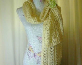 Hand Knitted yellow neck scarf