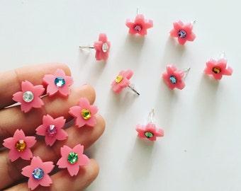 Bubble gum SAKURA swarovski stud earrings (select crystal color)