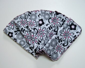 Cloth Baby Wipes Set of 6 2 Ply Flannel Basic Cloth Diaper Wipes Black and Pink Flower Print Reusable Flannel Wipes, Family Cloth