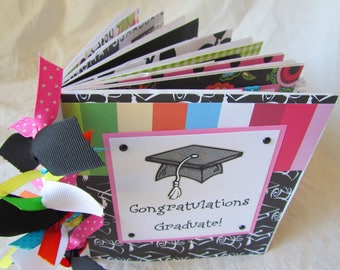Graduation scrapbook mini album - PaPeR BaG Premade Scrapbook -- CONGRATULATIONS GRADUATE! -- girl, class of 2017, autograph book, gift