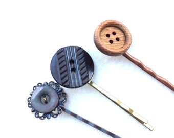Beautiful Brown and Gray Hairpins made from vintage buttons