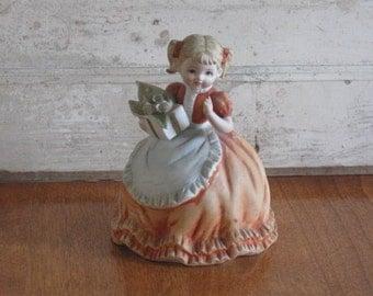 Lefton Girl Figurine, Statue, Hand Painted China Statue, Lefton statue, Little Girl with Apron