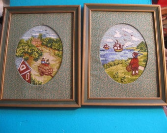 Crewel Framed Early American Pictures, Embroidered Framed Pictures