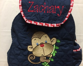TODDLER Boys MONKEY Backpack. CUSTOM Handmade and Embroidered You Choose Quilted Fabric Color and  Trim