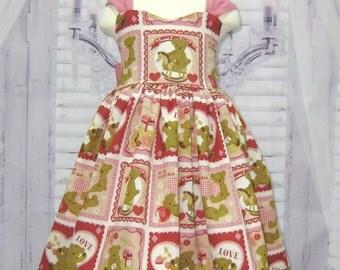 Teddy Bear Dress, Pink and Red Girl Dress, Country Style Girl Dress, Green Girl Dress, Toddler Dress, Tea Time Dress