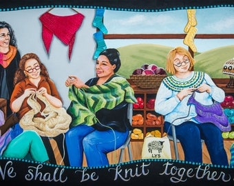 We Shall Be Knit Together - 10 x 20 Print of Original Acrylic Painting by Carolee Clark, King of Mice Studios
