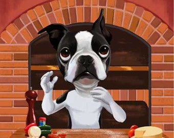 Boston terrier art, Pizza chef, kitchen art - Boston Terrier Dog Art print