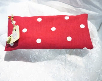 Eye Pillow - Heat Pack with Removable Cover -   Polka Dot - Red & White - Handmade