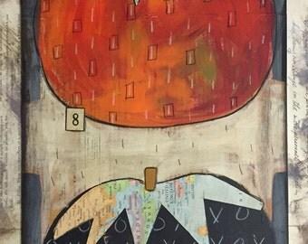 Tomato 3 -original mixed media - Folk art- wall hanging