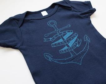 Lake Champlain Vermont onesie baby shirt navy anchor USA made