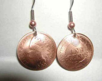 Coin Jewelry Antique Indian Head Penny earrings