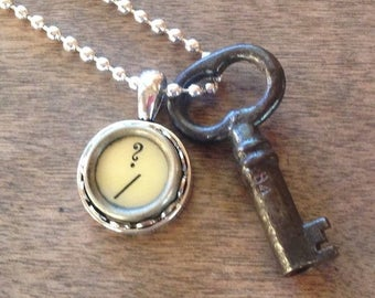 SALE Skeleton Key Necklace Typewriter Key Question Mark Vintage Steampunk