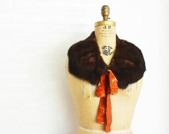SALE- Brown mink fur scarf-Mink fur collar  with velvet ribbons