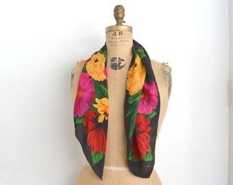 SALE Echo silk scarf  floral Black silk scarf. Gift for her