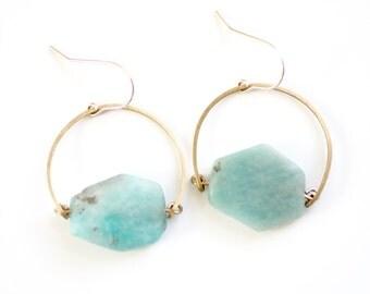 Amazonite Hoop Earrings | Amazonite Earrings | Gold Stone | Silver Blue Stone Earrings | Gold Fill | Brass Stone | Amazonite Jewelry