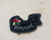 Feminist Patch, Sew-on Patch, Girl Power, Feminist AF, Hand Embroidery, Jacket Patch, Gift For Her, Felt Patch, Floral Embroidery, Girl Gang
