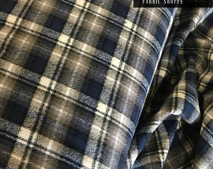 Soft Flannel fabric, Mammoth Plaid Flannel, Blue Plaid, Christmas Flannel, Plaid Scarf fabric, Robert Kaufman, Mammoth Flannel in ASH 290