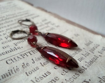 Red Crystal Navette Earrings Brass Jewelry July Birthstone Vintage Style Holiday Jewelry Bridesmaid Jewelry Gifts For Her Gifts Under 30